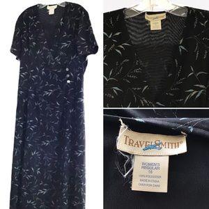 Maxi Dress size 16 black button up Wrap dress